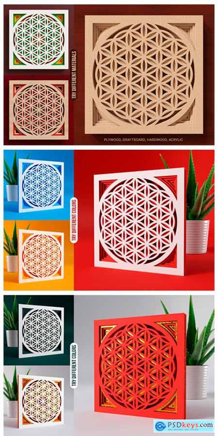 Flower of Life 3D Layered SVG Cut File 8887955