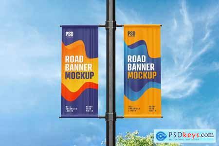 Street Pole Banner Mockup Set 5920829