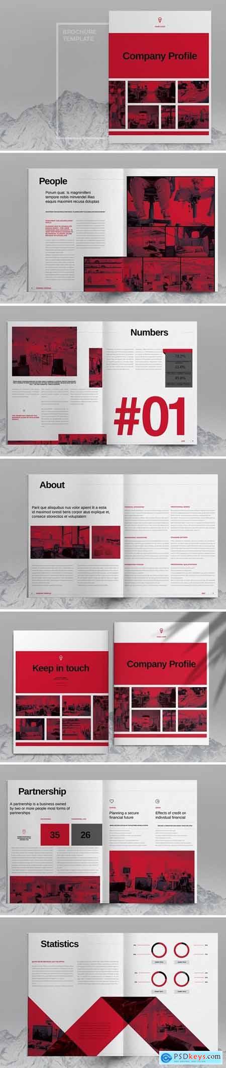 Red Grid Brochure Template