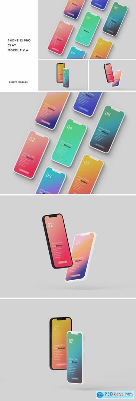 iPhone 12 Pro Clay Mockup V.4