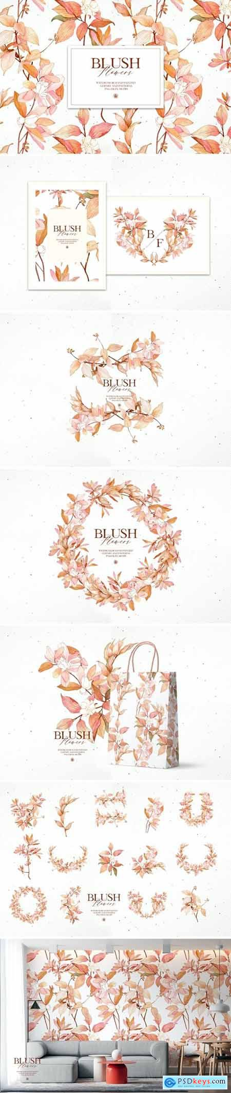 Blush Flowers- watercolor set