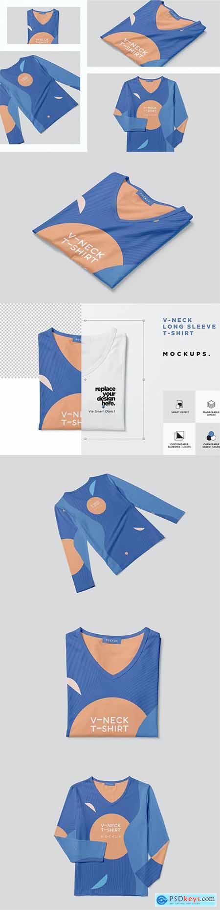 Long Sleeve V Neck T-shirt Mockups