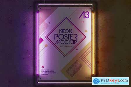 Hanging Mockup A3 Poster Neon Light Metal Frame