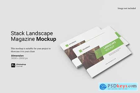 Stack Landscaped Magazine Mockup