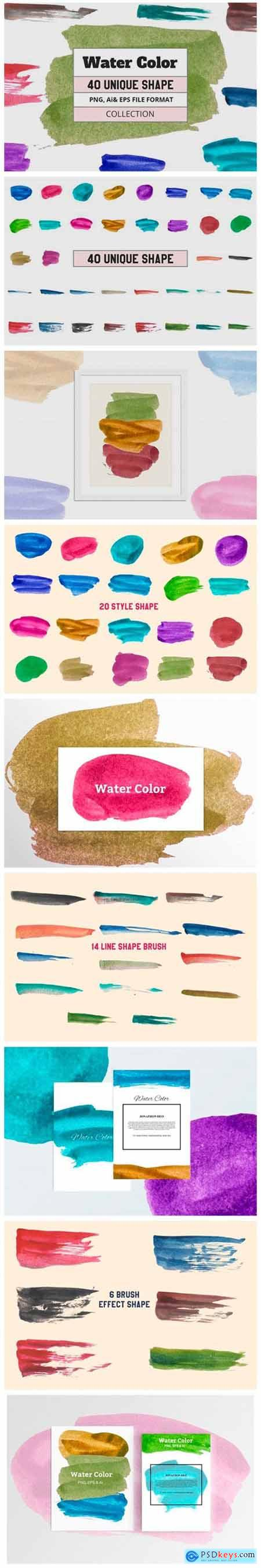 40 Vector Water Color Object 9067753