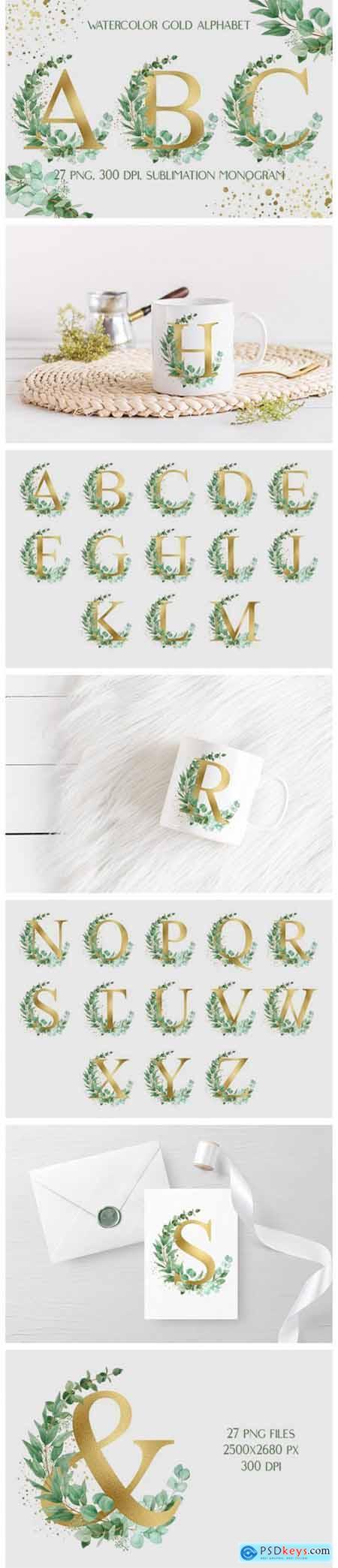 Sublimation Alphabet - Gold Letters 9071536