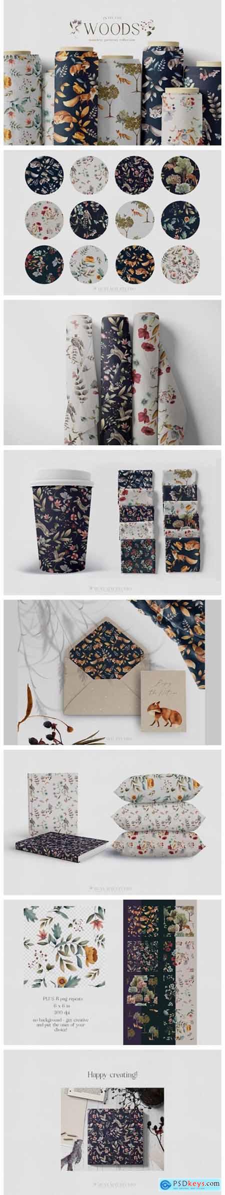 Woodland Scene Seamless Patterns JPEG 8571350