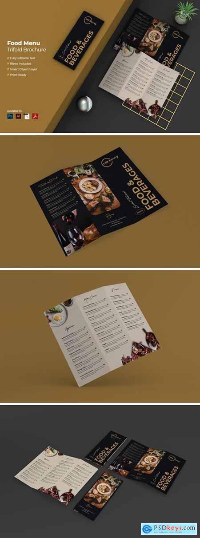 Food Menu Trifold Brochure