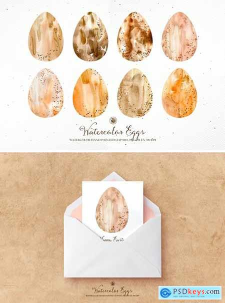 Watercolor Easter Eggs - hand painted clipart