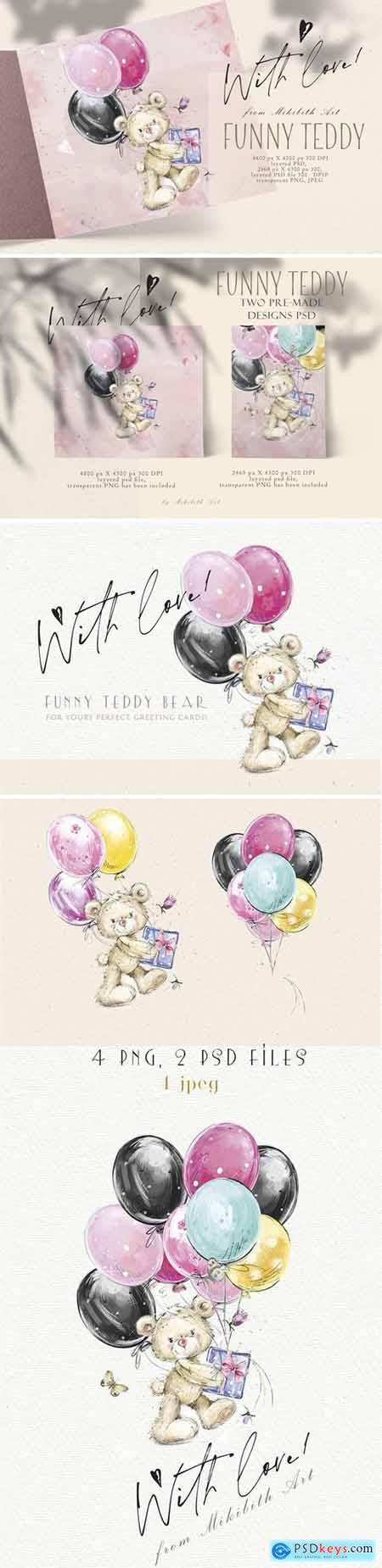 Teddy bear illustration & ready-made design
