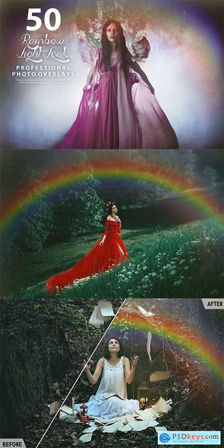 50 Rainbow Light Leak Photo Overlays
