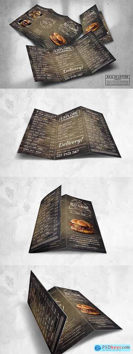 Stylish Trifold Food Menu - A4 & US Letter