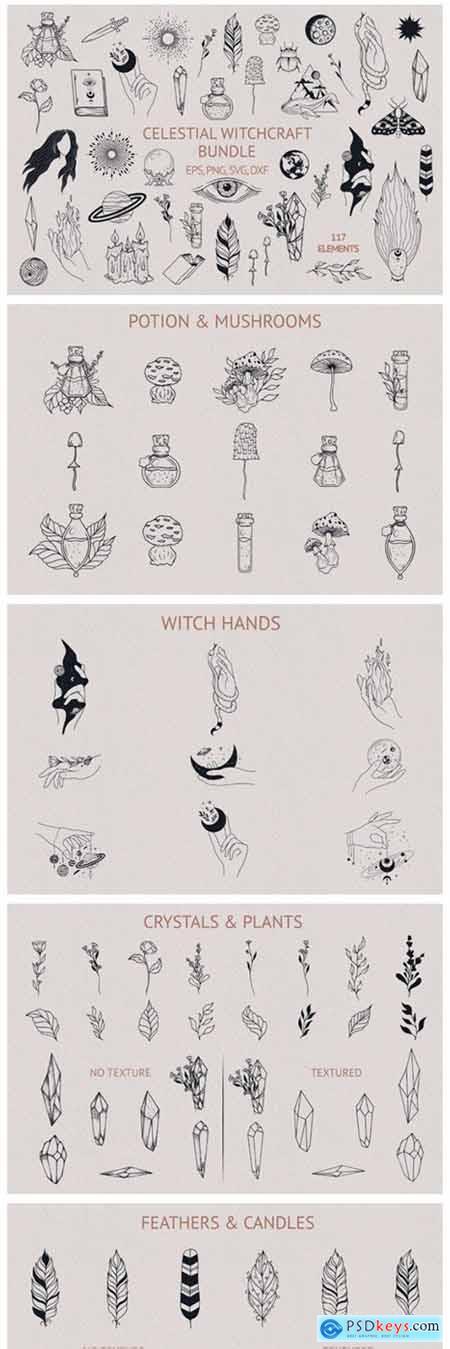 Hand Drawn Celestial Witchcraft Bundle 8345029