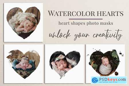 Watercolor hearts photo masks 5804185