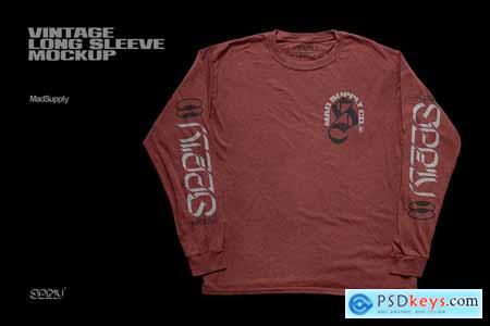 Vintage Long Sleeve T-Shirt Mockup 5923238