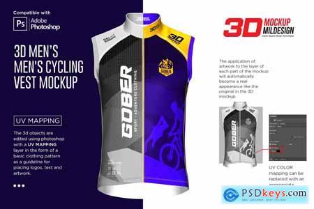 3D Mens Cyling Vest Mockup 5964085