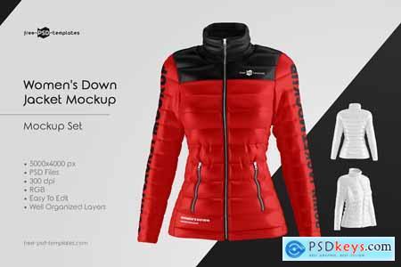 Womens Down Jacket Mockup Set 5891279