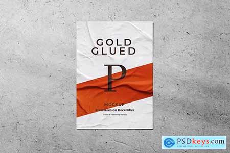 Glued Paper Poster Mockup