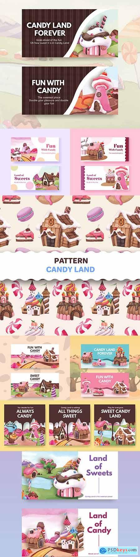 Candy land template twitter with watercolor illustration design