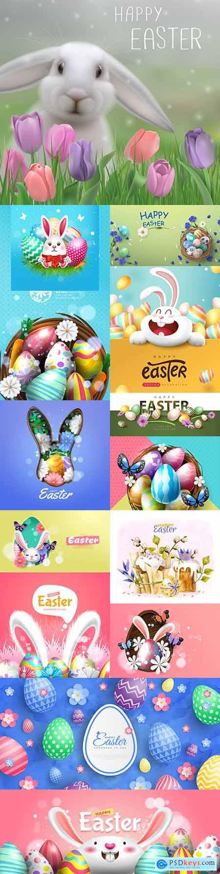Happy Easter background and design banner with colorful eggs 2