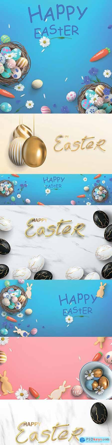 Happy Easter background and design banner with colorful eggs 3