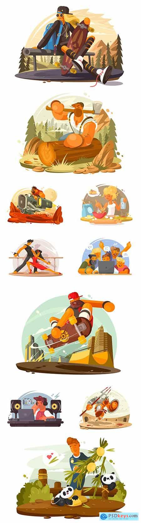 Different people at work and leisure modern design illustration 2