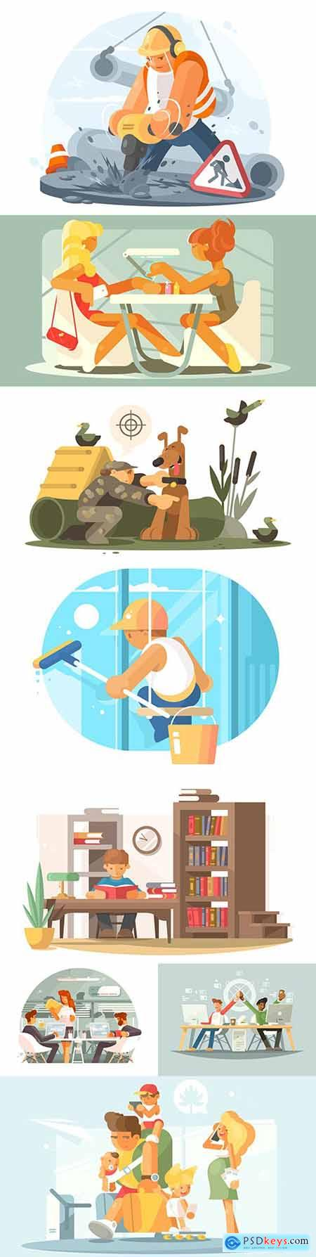 Different people at work and leisure modern design illustration