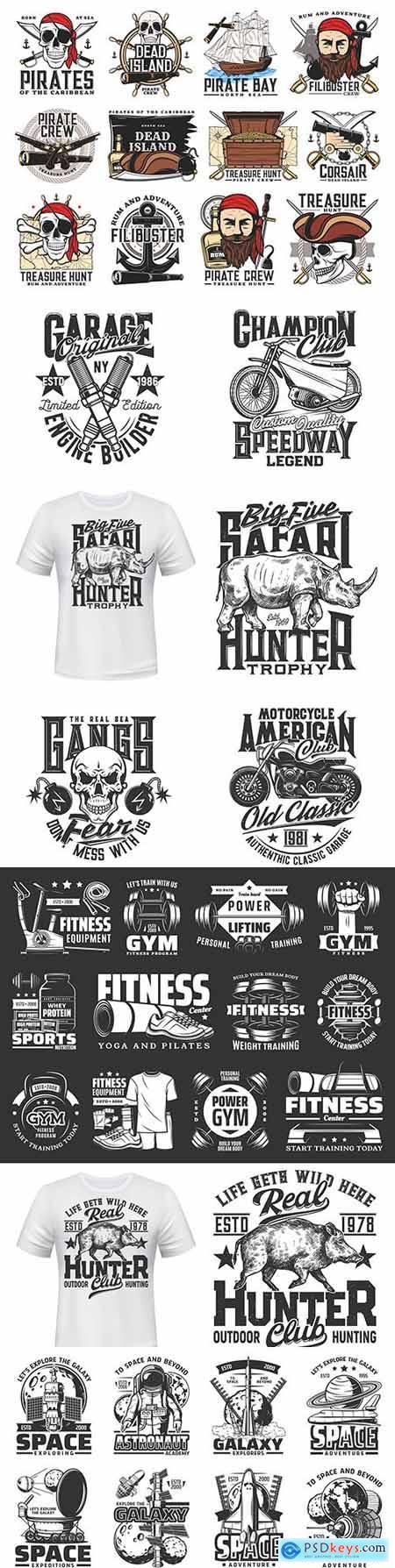 Print on T-shirt with mascot and biker club design emblem