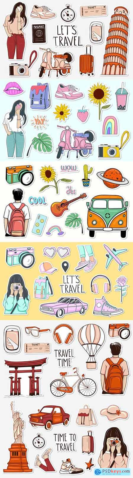 Tourism and recreation collection of colorful painted stickers