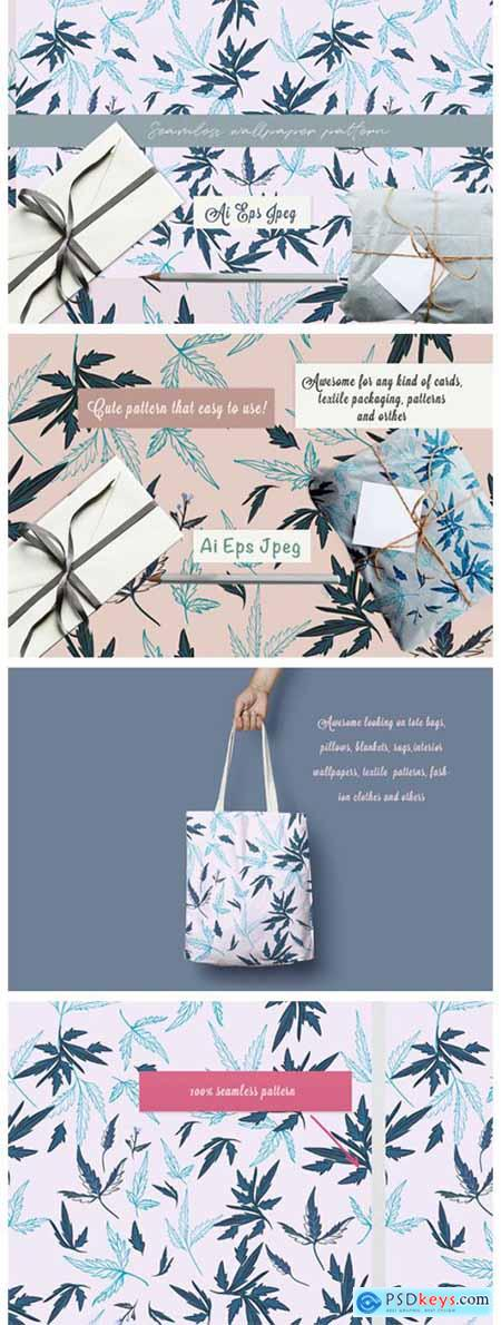 Floral Rustic Vector Pattern with Leaves 4065136