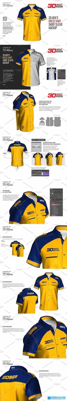 3D Mens Dress Shirt SS Mockup 5881078