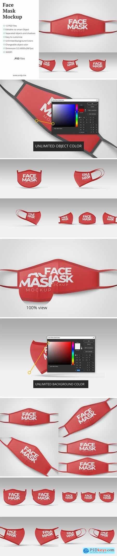 Face Mask Mockup - 12 PSD Files