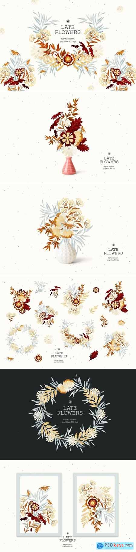 Late Flowers - digital clipart set
