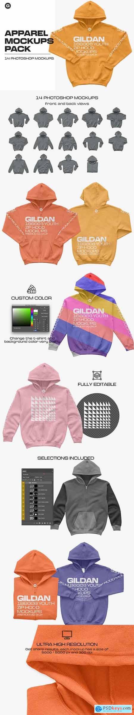 Gildan 18600B Youth Zip Hood Mockups 5961920