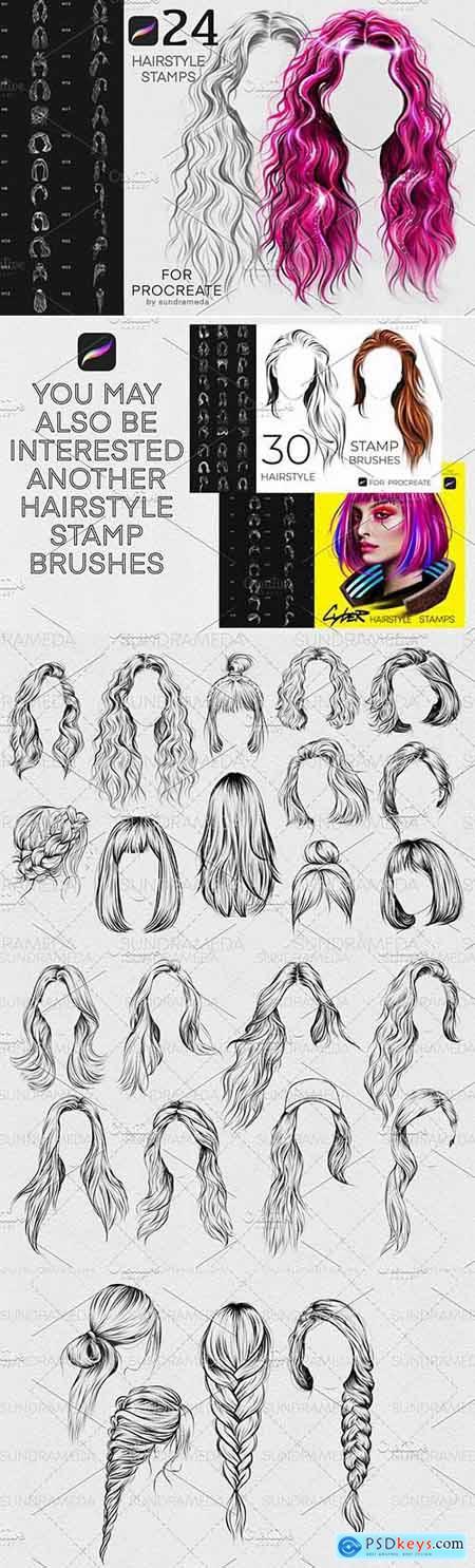 Hairstyle II Stamp Brushes Procreate 5927570