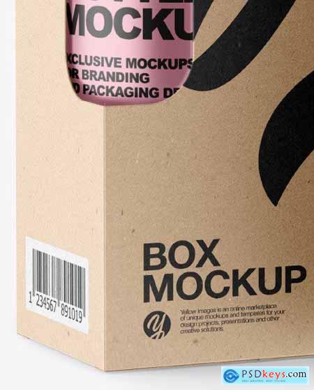 Metallic Bottle w- Kraft Box Mockup 79159