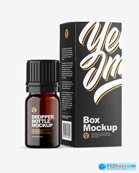 Dark Amber Glass Bottle with Box Mockup 79109