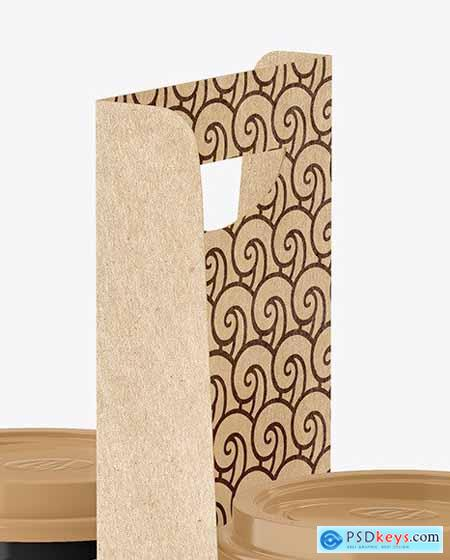 Glossy Coffee Cups in Kraft Paper Holder 79121