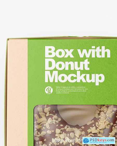 Kraft Box with Donut Mockup 79092