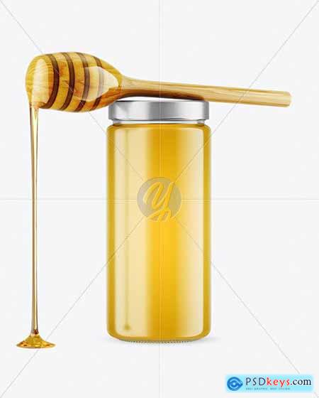 Clear Glass Honey Jar with Wooden Dipper Mockup 79176