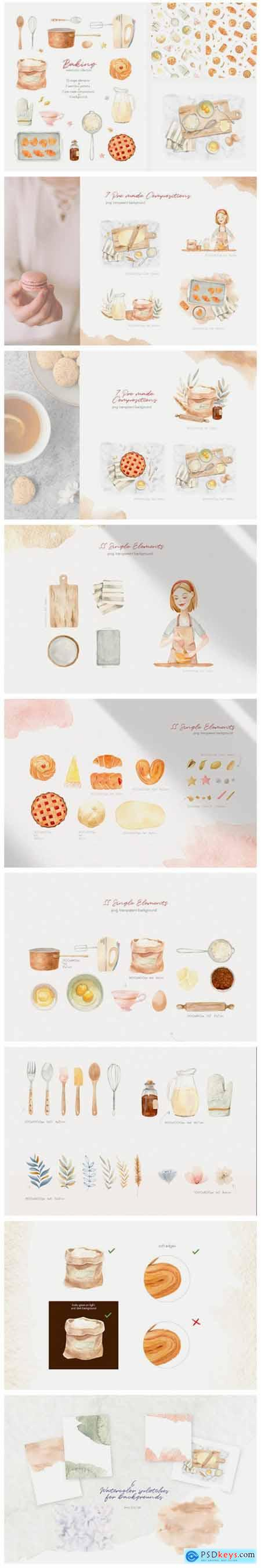 Baking at Home - Watercolor Clipart 9700981