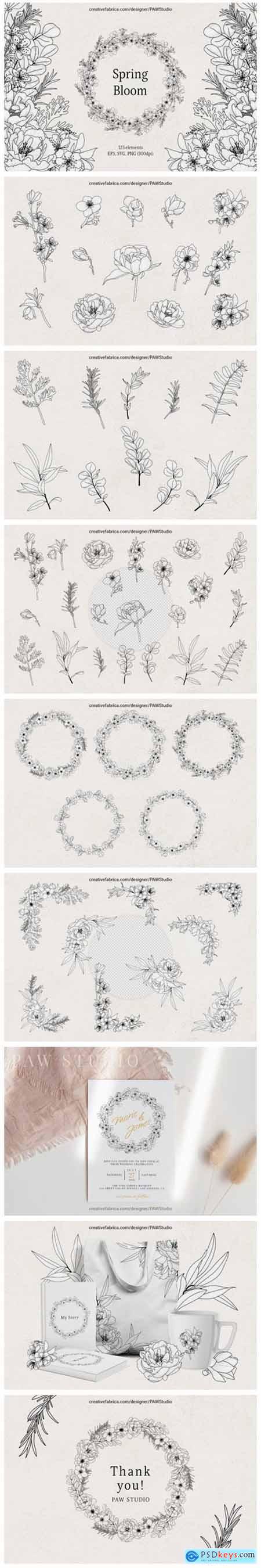 Floral LineArt Flower SVG Frame Monogram 9705171