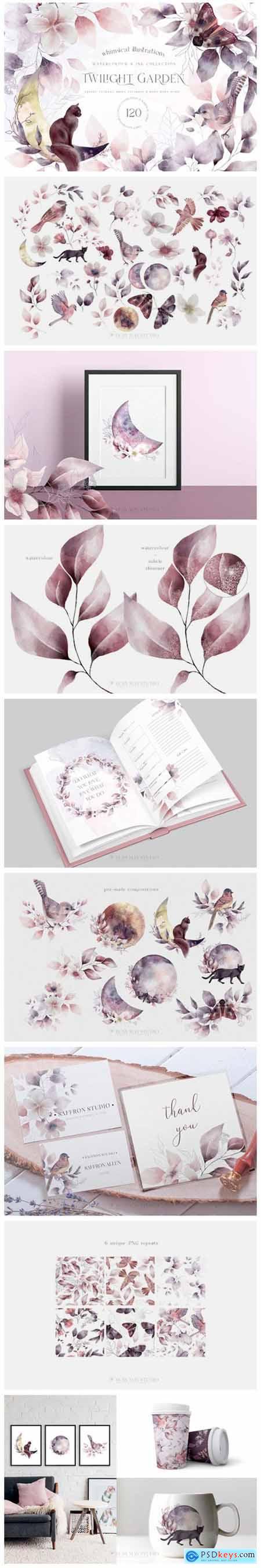 Whimsical Leaves Flowers Birds Moons 10043519