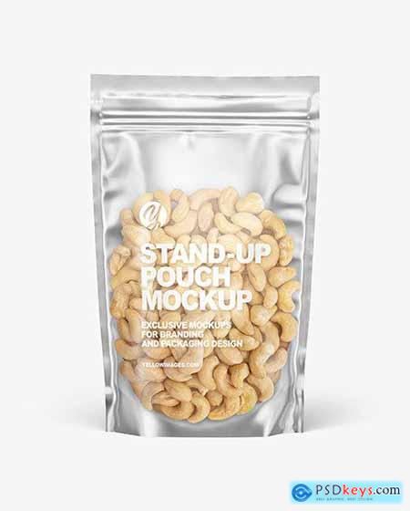 Frosted Plastic Pouch w- Cashew Nuts Mockup 78999