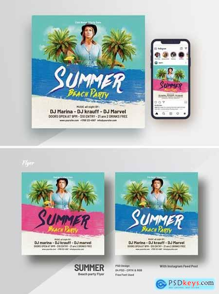 Summer Beach Party Square Flyer & Instagram Feeds