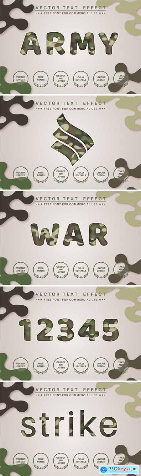Paper military - editable text effect, font style