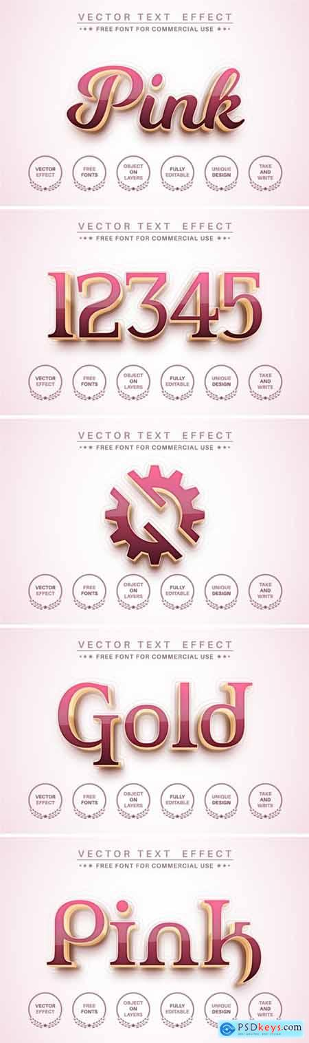 Pink gold - editable text effect, font style