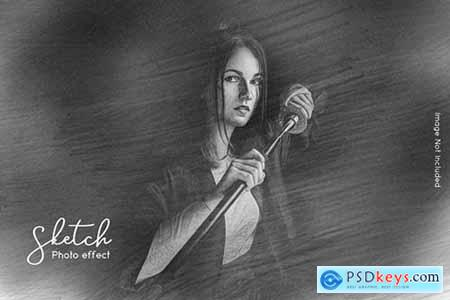 Hand sketching photo effect template