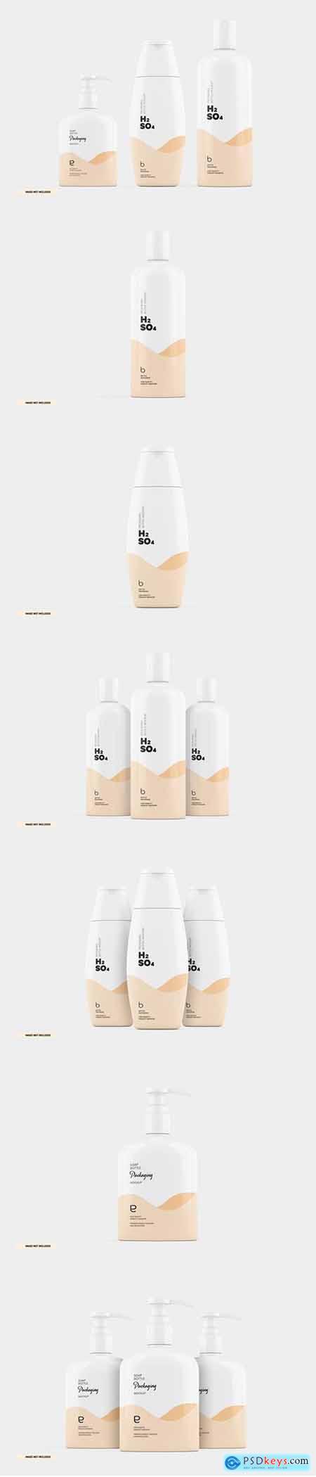Cosmetics bottle shampoo soap packaging mockup