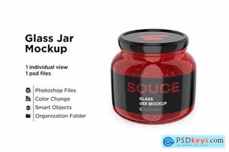 Glass red hot sauce jar in shrink sleeve mockup